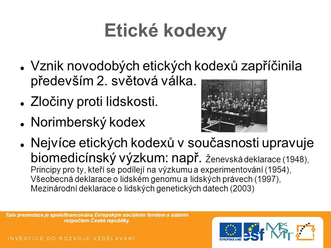 Tato prezentace je spolufinancována Evropským sociálním fondem a státním rozpočtem České republiky. Etické kodexy Vznik novodobých etických kodexů zap