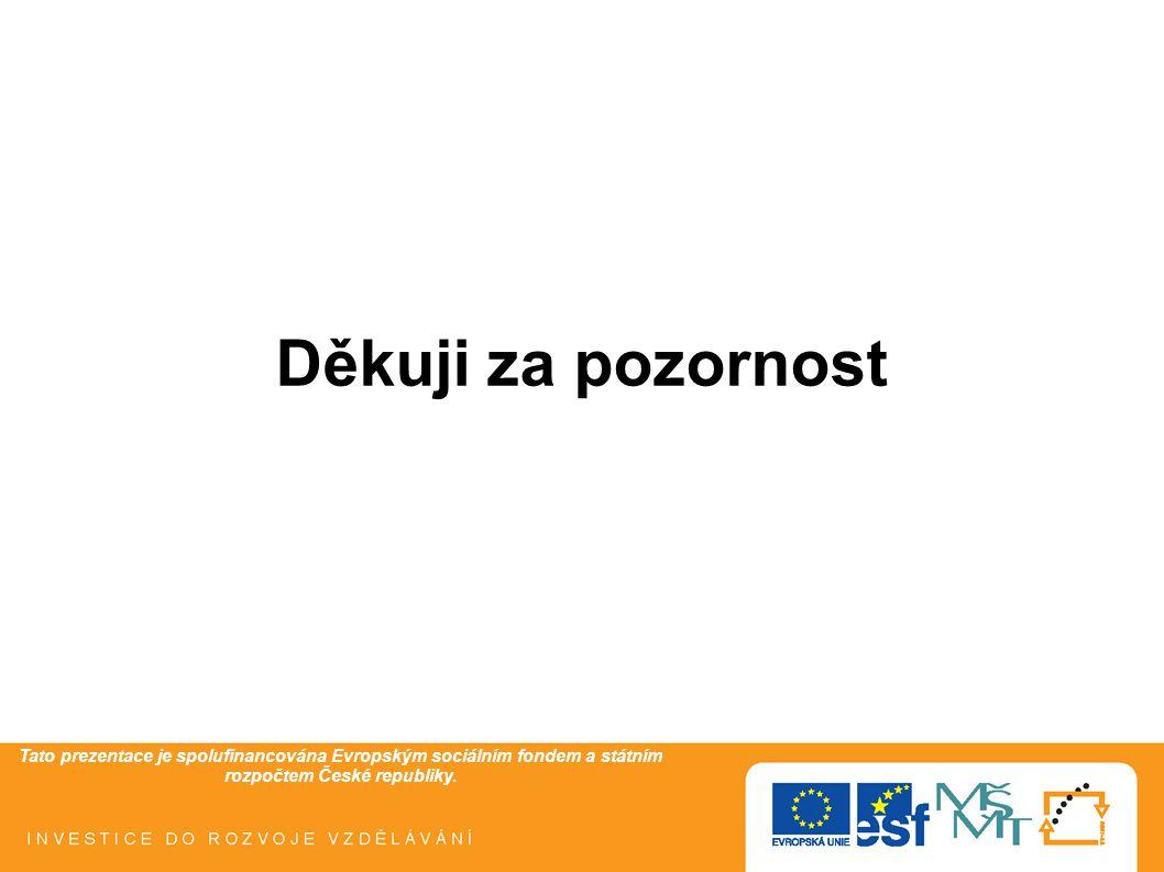 Tato prezentace je spolufinancována Evropským sociálním fondem a státním rozpočtem České republiky. Děkuji za pozornost