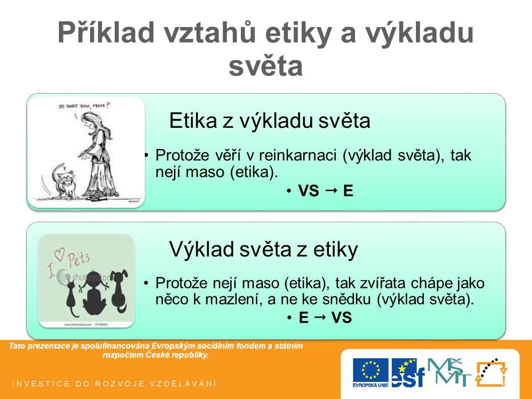 Tato prezentace je spolufinancována Evropským sociálním fondem a státním rozpočtem České republiky. Příklad vztahů etiky a výkladu světa Etika z výkla