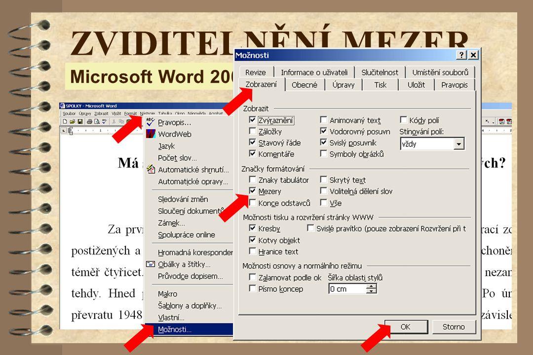 Microsoft Word 2000 ZVIDITELNĚNÍ MEZER