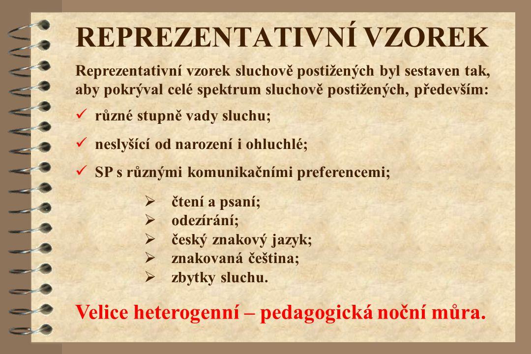 REPREZENTATIVNÍ VZOREK Reprezentativní vzorek sluchově postižených byl sestaven tak, aby pokrýval celé spektrum sluchově postižených, především: různé stupně vady sluchu; neslyšící od narození i ohluchlé; SP s různými komunikačními preferencemi;  čtení a psaní;  odezírání;  český znakový jazyk;  znakovaná čeština;  zbytky sluchu.