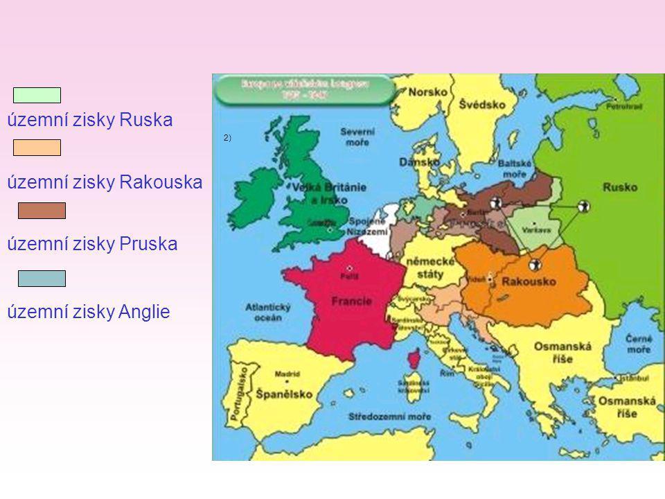 - Rusko získalo většinu bývalého Polska a Finsko Rakousko získalo území v severní Itálii, Dalmácii a Istrii Prusko získalo Porýní, část Saska, Gdaňsk Anglie získala část nizozemských kolonií, ostrov Maltu Správně spoj.