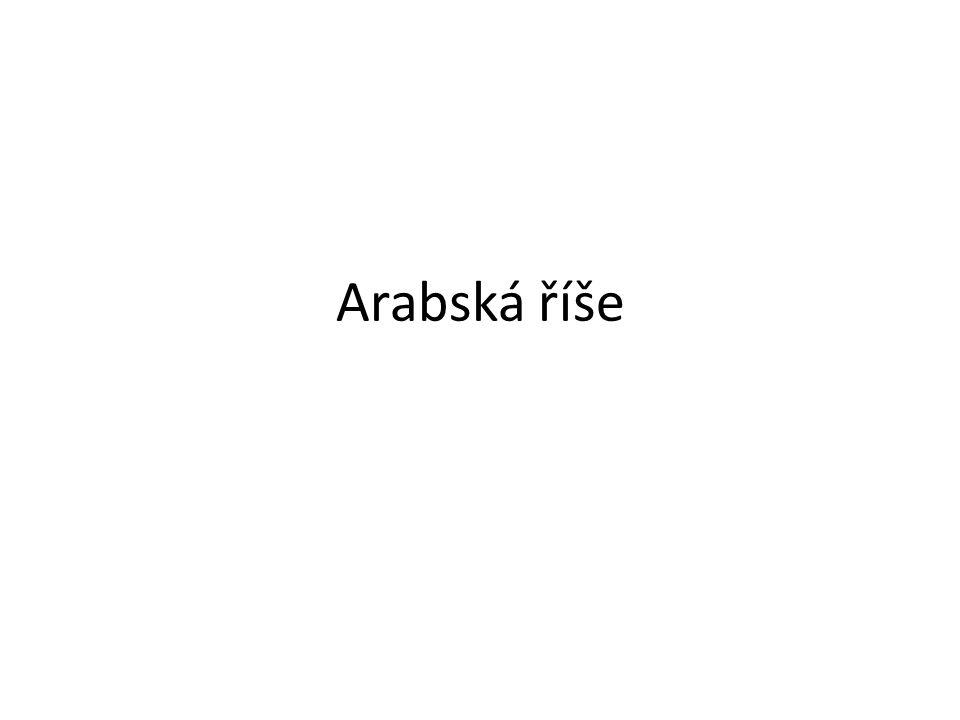 Vznikla na Arabském poloostrově Arabové původně pastevci Araby sjednotil Mohamed – zakladatel náboženství Islámu (7stol.) Jediný bůh – ALLÁH Muslimové – věří v Alláha posvátná kniha- korán Hlavní body víry: věřit v Alláha, modlit se denně, pomáhat chudým, půst jeden měsíc v roce, jedenkrát za život navštívit Mekku(rodiště Mohameda)
