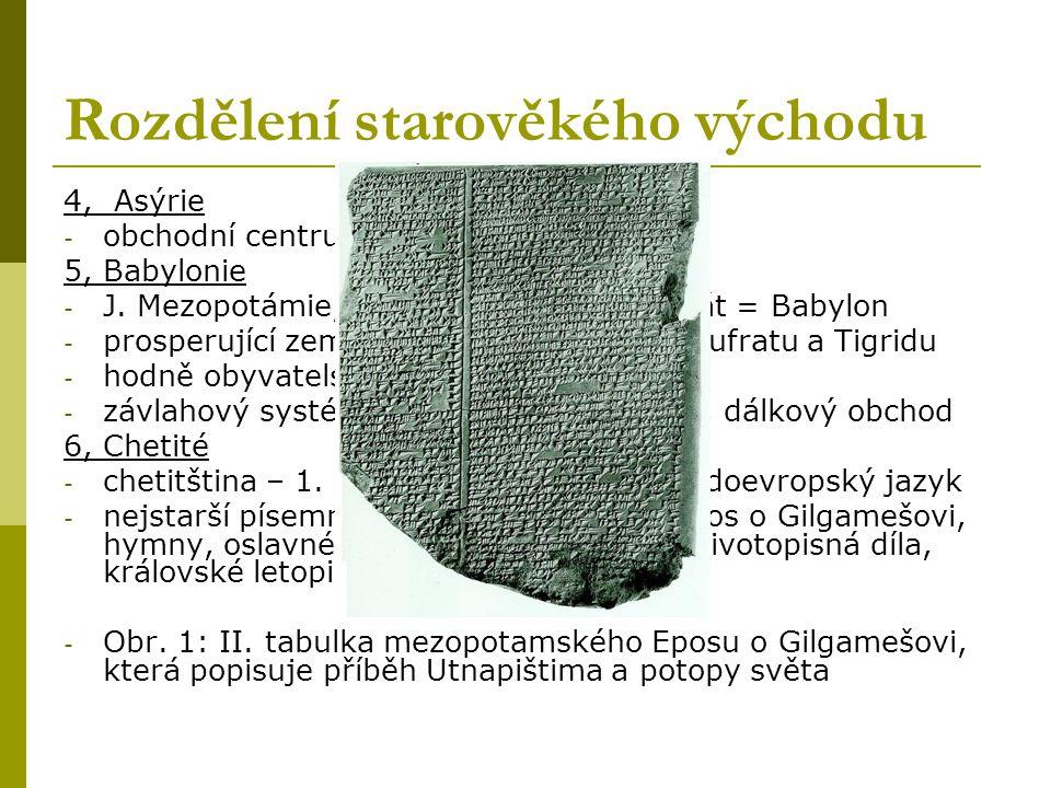 Rozdělení starověkého východu 1, Starověká Mezopotámie = meziříčí (mesos - prostřední, potamos - řeka) - řeky: Eufrat a Tigris - vývoz tkanin a dovoz surovin - rákos a hlína: důležité suroviny ke vzniku písma 2, Sumer - J.