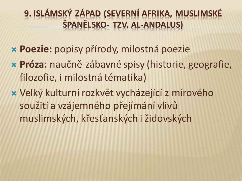  Poezie: popisy přírody, milostná poezie  Próza: naučně-zábavné spisy (historie, geografie, filozofie, i milostná tématika)  Velký kulturní rozkvět vycházející z mírového soužití a vzájemného přejímání vlivů muslimských, křesťanských i židovských