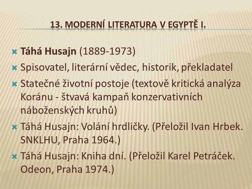  Táhá Husajn (1889-1973)  Spisovatel, literární vědec, historik, překladatel  Statečné životní postoje (textově kritická analýza Koránu - štvavá kampaň konzervativních náboženských kruhů)  Táhá Husajn: Volání hrdličky.
