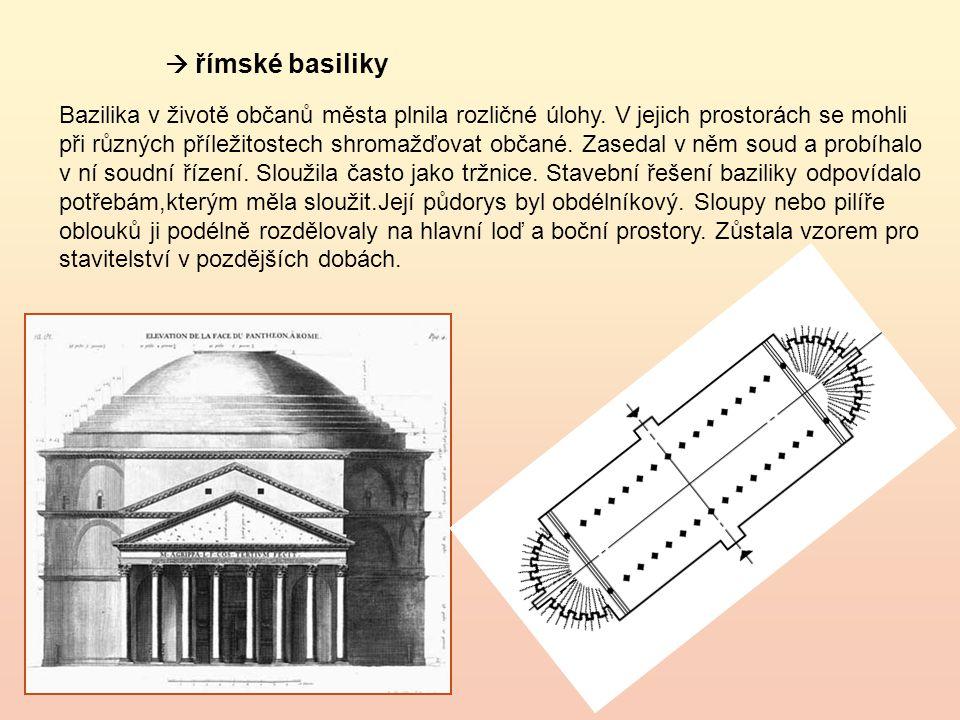  římské basiliky Bazilika v životě občanů města plnila rozličné úlohy.