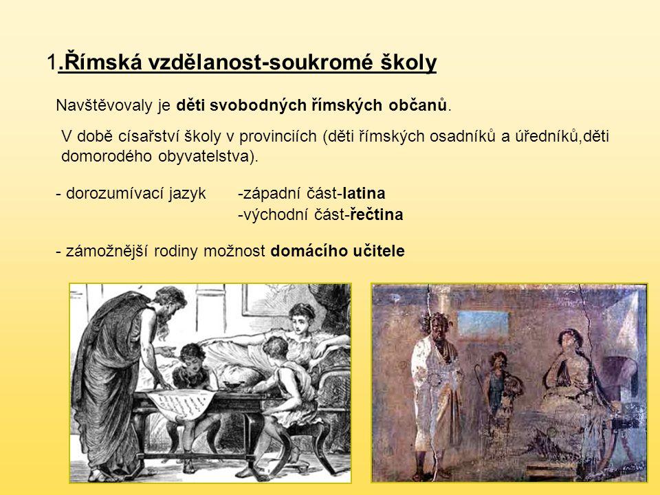 1.Římská vzdělanost-soukromé školy Navštěvovaly je děti svobodných římských občanů.