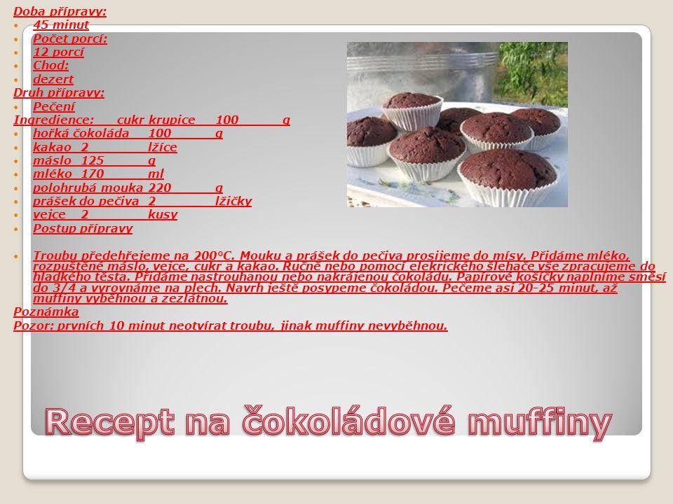 Doba přípravy: 45 minut Počet porcí: 12 porcí Chod: dezert Druh přípravy: Pečení Ingredience: cukr krupice100g hořká čokoláda100g kakao2lžíce máslo125