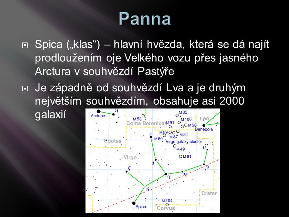 """ Spica (""""klas"""") – hlavní hvězda, která se dá najít prodloužením oje Velkého vozu přes jasného Arctura v souhvězdí Pastýře  Je západně od souhvězdí L"""