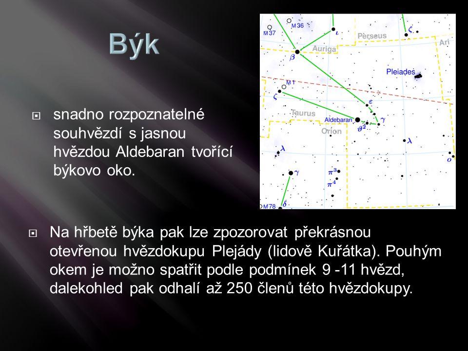  Na hřbetě býka pak lze zpozorovat překrásnou otevřenou hvězdokupu Plejády (lidově Kuřátka). Pouhým okem je možno spatřit podle podmínek 9 -11 hvězd,