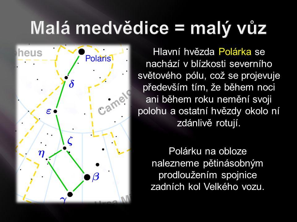 Polárku na obloze nalezneme pětinásobným prodloužením spojnice zadních kol Velkého vozu. Hlavní hvězda Polárka se nachází v blízkosti severního světov