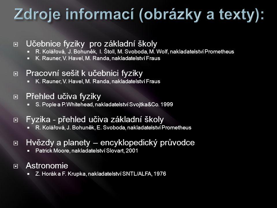  Učebnice fyziky pro základní školy  R. Kolářová, J. Bohuněk, I. Štoll, M. Svoboda, M. Wolf, nakladatelství Prometheus  K. Rauner, V. Havel, M. Ran