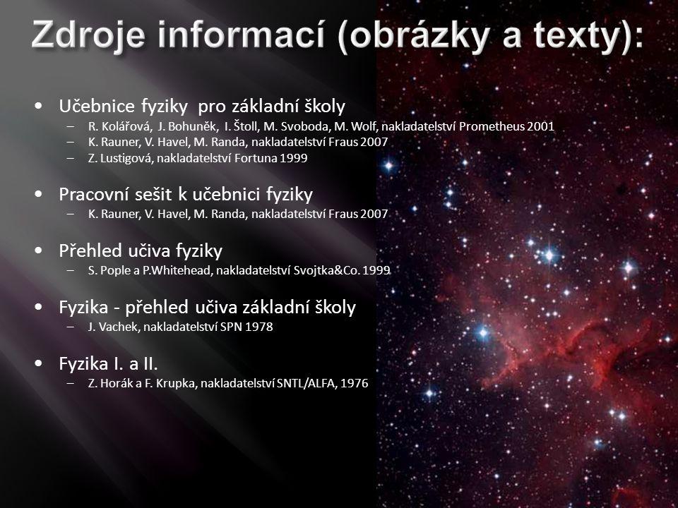 Učebnice fyziky pro základní školy –R. Kolářová, J. Bohuněk, I. Štoll, M. Svoboda, M. Wolf, nakladatelství Prometheus 2001 –K. Rauner, V. Havel, M. Ra