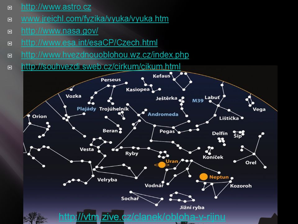  http://www.astro.cz http://www.astro.cz  www.jreichl.com/fyzika/vyuka/vyuka.htm www.jreichl.com/fyzika/vyuka/vyuka.htm  http://www.nasa.gov/ http: