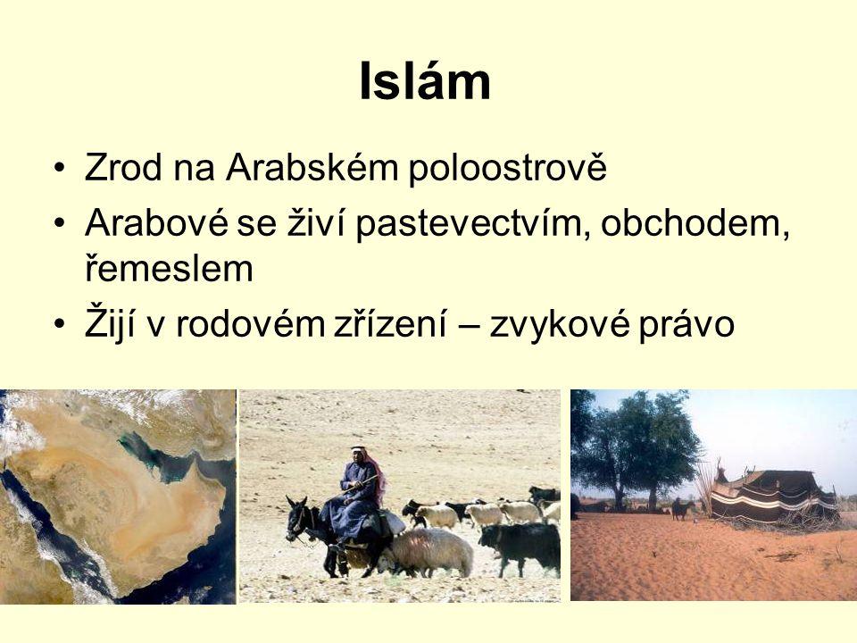 Islám Zrod na Arabském poloostrově Arabové se živí pastevectvím, obchodem, řemeslem Žijí v rodovém zřízení – zvykové právo