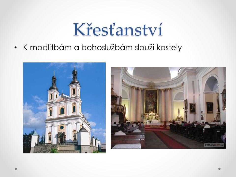 Křesťanství K modlitbám a bohoslužbám slouží kostely
