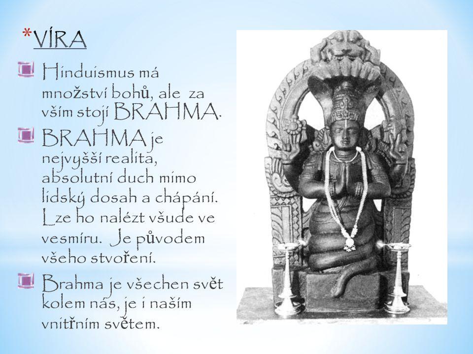 Hinduismus má mno ž ství boh ů, ale za vším stojí BRAHMA. BRAHMA je nejvyšší realita, absolutní duch mimo lidský dosah a chápání. Lze ho nalézt všude