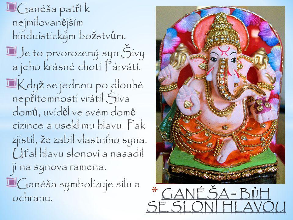 Ganéša pat ř í k nejmilovan ě jším hinduistickým bo ž stv ů m. Je to prvorozený syn Šivy a jeho krásné choti Párvátí. Kdy ž se jednou po dlouhé nep ř