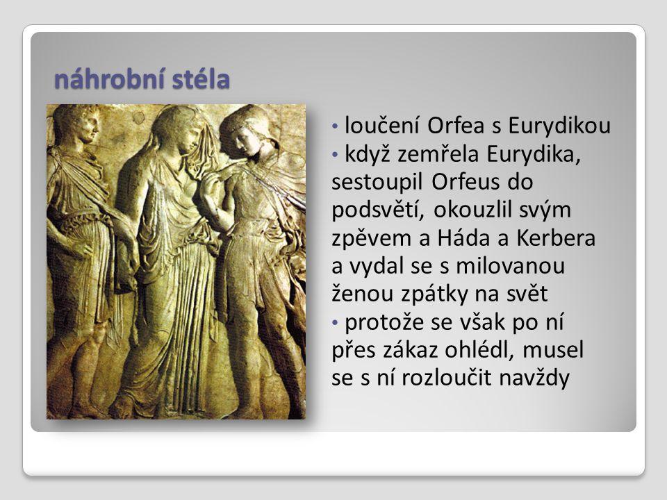 náhrobní stéla loučení Orfea s Eurydikou když zemřela Eurydika, sestoupil Orfeus do podsvětí, okouzlil svým zpěvem a Háda a Kerbera a vydal se s milov