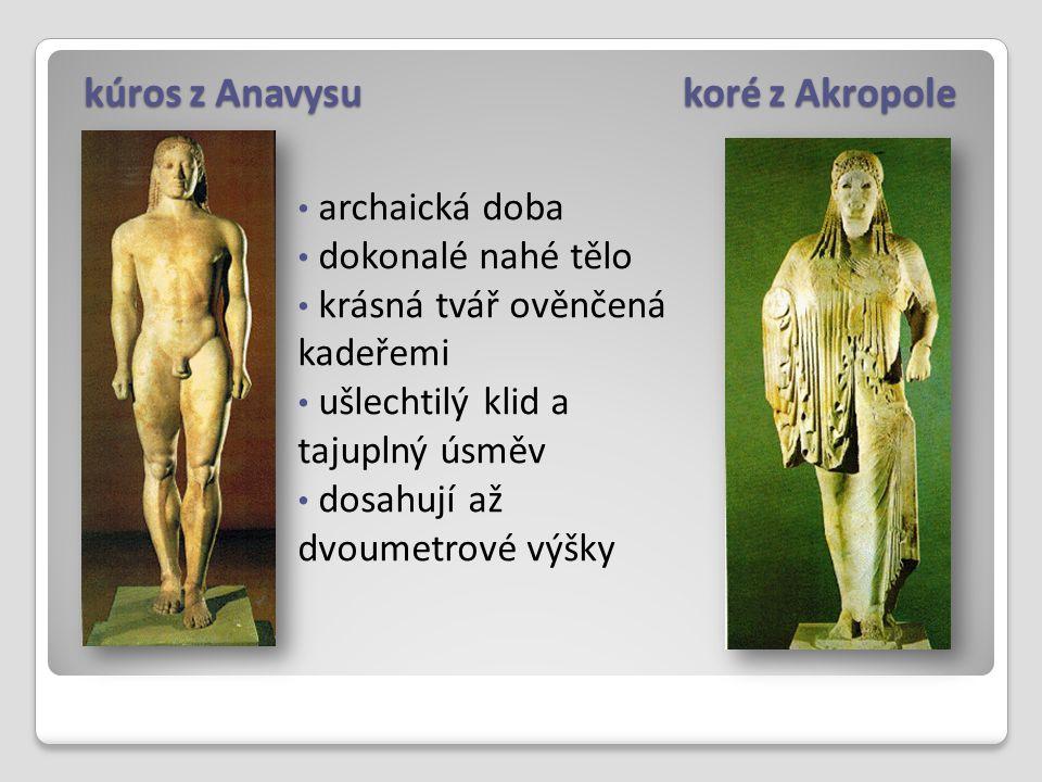 kúros z Anavysu koré z Akropole archaická doba dokonalé nahé tělo krásná tvář ověnčená kadeřemi ušlechtilý klid a tajuplný úsměv dosahují až dvoumetro