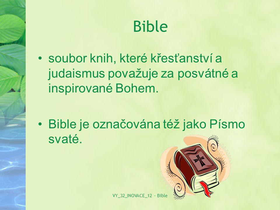 Obsah První část Bible tvoří Starý zákon, který obsahuje soubor posvátných knih (tanach), který křesťané převzali z judaismu.