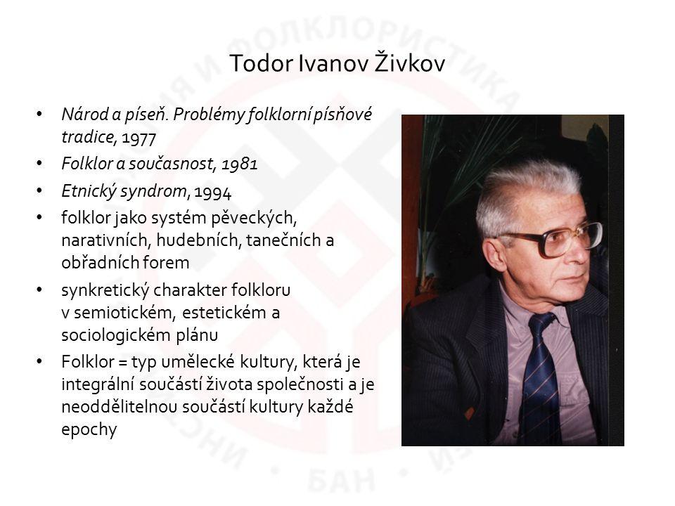 Todor Ivanov Živkov Národ a píseň. Problémy folklorní písňové tradice, 1977 Folklor a současnost, 1981 Etnický syndrom, 1994 folklor jako systém pěvec