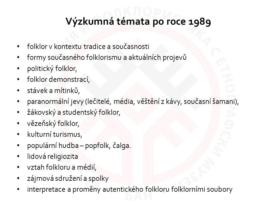 Výzkumná témata po roce 1989 folklor v kontextu tradice a současnosti formy současného folklorismu a aktuálních projevů politický folklor, folklor dem