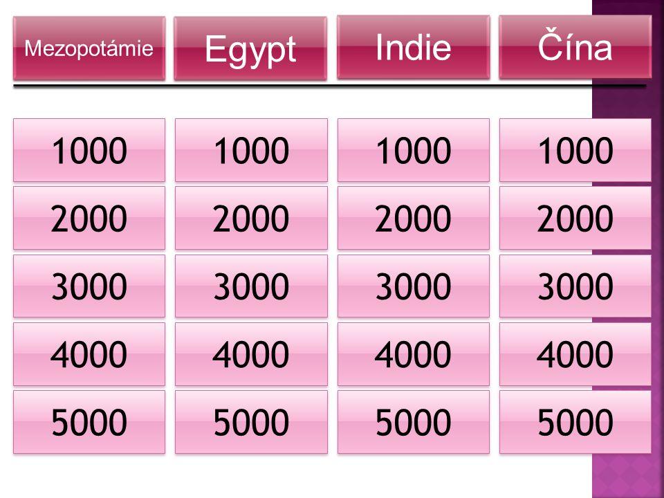 2000 1000 3000 4000 5000 Mezopotámie Egypt Indie Čína 2000 1000 3000 4000 5000 2000 1000 3000 4000 5000 2000 1000 3000 4000 5000