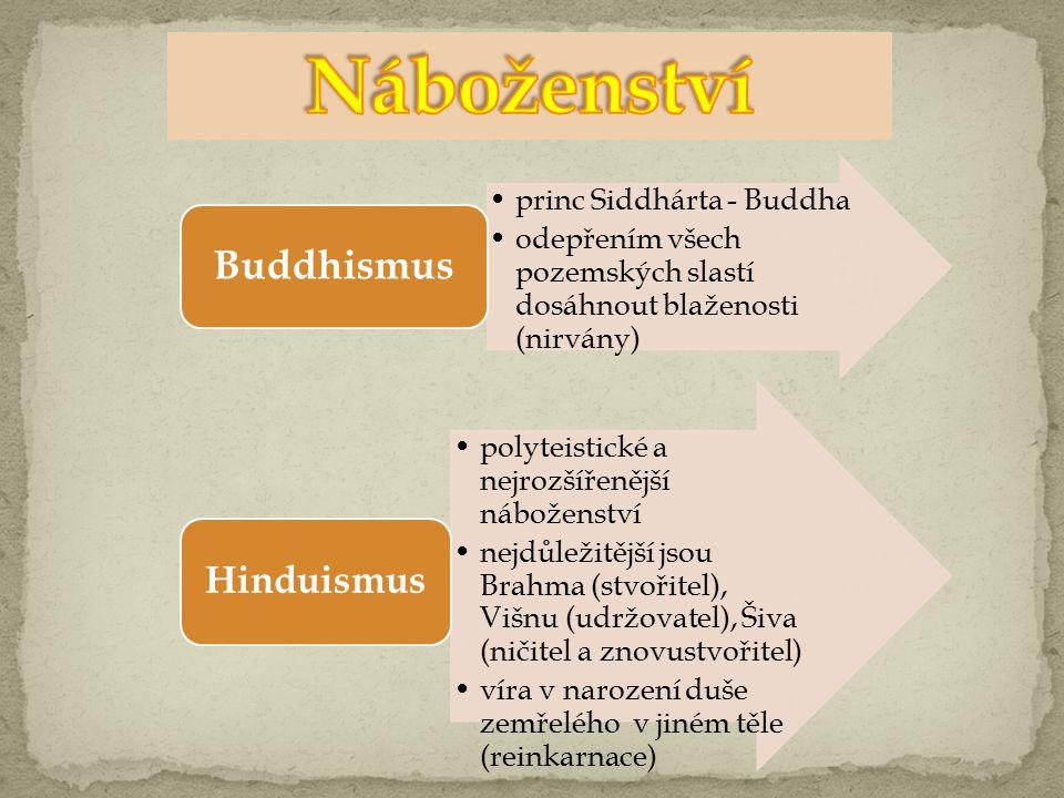 princ Siddhárta - Buddha odepřením všech pozemských slastí dosáhnout blaženosti (nirvány) Buddhismus polyteistické a nejrozšířenější náboženství nejdůležitější jsou Brahma (stvořitel), Višnu (udržovatel), Šiva (ničitel a znovustvořitel) víra v narození duše zemřelého v jiném těle (reinkarnace) Hinduismus