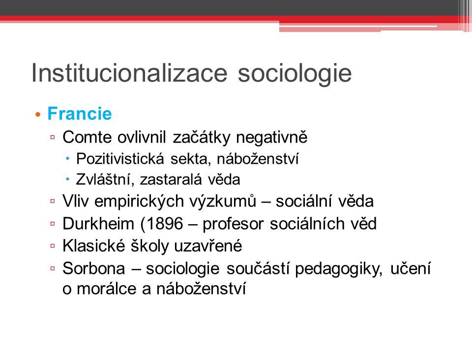 Institucionalizace sociologie Francie ▫ Comte ovlivnil začátky negativně  Pozitivistická sekta, náboženství  Zvláštní, zastaralá věda ▫ Vliv empiric