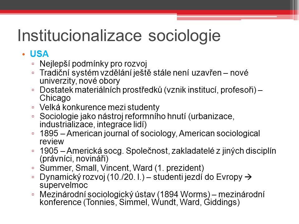 Institucionalizace sociologie USA ▫ Nejlepší podmínky pro rozvoj ▫ Tradiční systém vzdělání ještě stále není uzavřen – nové univerzity, nové obory ▫ D
