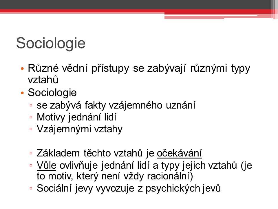 Sociologie Různé vědní přístupy se zabývají různými typy vztahů Sociologie ▫ se zabývá fakty vzájemného uznání ▫ Motivy jednání lidí ▫ Vzájemnými vzta