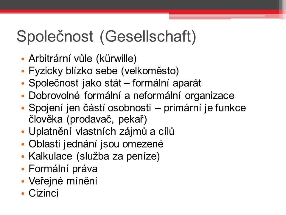 Společnost (Gesellschaft) Arbitrární vůle (kürwille) Fyzicky blízko sebe (velkoměsto) Společnost jako stát – formální aparát Dobrovolné formální a nef
