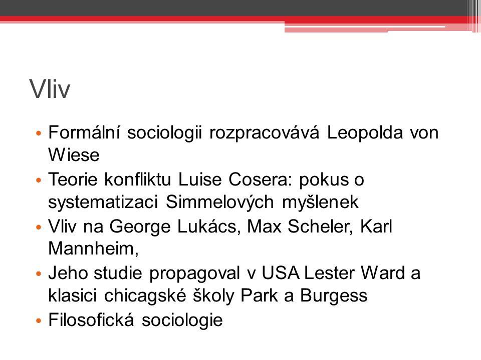 Vliv Formální sociologii rozpracovává Leopolda von Wiese Teorie konfliktu Luise Cosera: pokus o systematizaci Simmelových myšlenek Vliv na George Luká