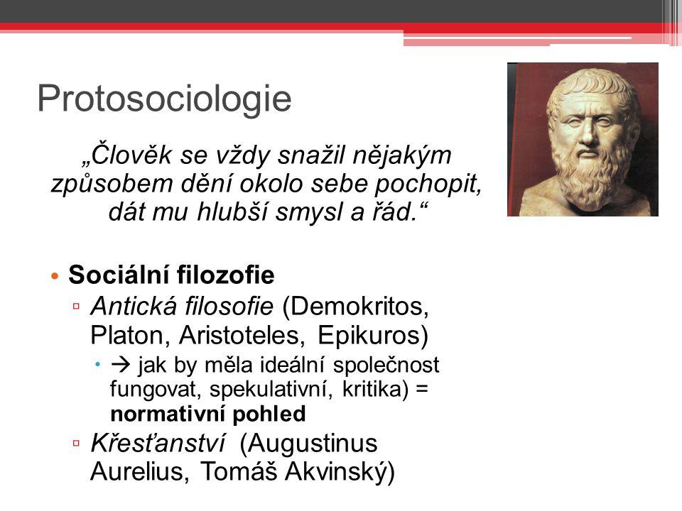 """Protosociologie """"Člověk se vždy snažil nějakým způsobem dění okolo sebe pochopit, dát mu hlubší smysl a řád."""" Sociální filozofie ▫ Antická filosofie ("""