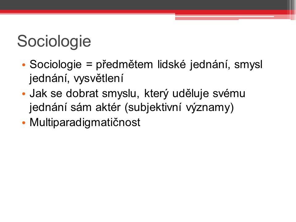 Sociologie Sociologie = předmětem lidské jednání, smysl jednání, vysvětlení Jak se dobrat smyslu, který uděluje svému jednání sám aktér (subjektivní v