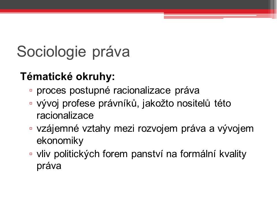 Sociologie práva Tématické okruhy: ▫ proces postupné racionalizace práva ▫ vývoj profese právníků, jakožto nositelů této racionalizace ▫ vzájemné vzta
