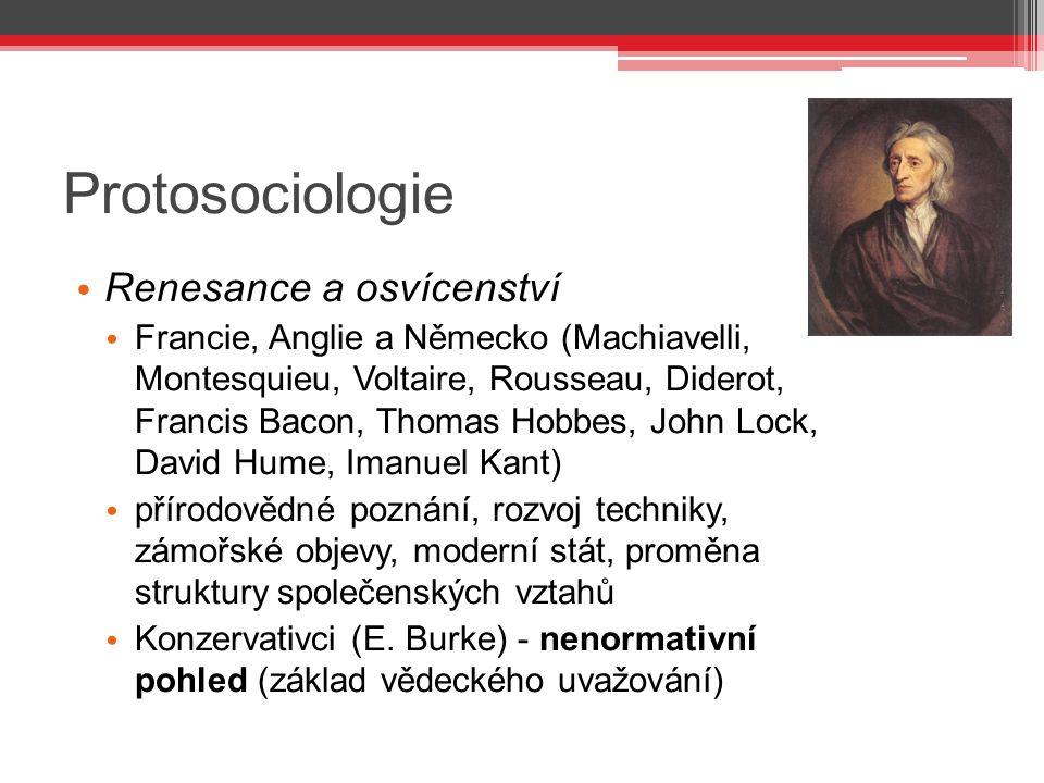 Protosociologie Renesance a osvícenství Francie, Anglie a Německo (Machiavelli, Montesquieu, Voltaire, Rousseau, Diderot, Francis Bacon, Thomas Hobbes