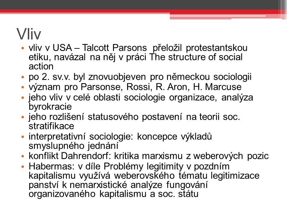 Vliv vliv v USA – Talcott Parsons přeložil protestantskou etiku, navázal na něj v práci The structure of social action po 2. sv.v. byl znovuobjeven pr