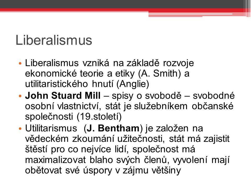 Liberalismus Liberalismus vzniká na základě rozvoje ekonomické teorie a etiky (A. Smith) a utilitaristického hnutí (Anglie) John Stuard Mill – spisy o