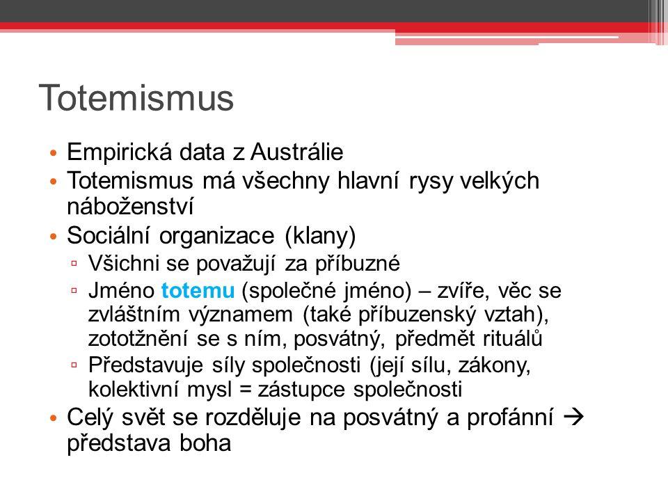 Totemismus Empirická data z Austrálie Totemismus má všechny hlavní rysy velkých náboženství Sociální organizace (klany) ▫ Všichni se považují za příbu