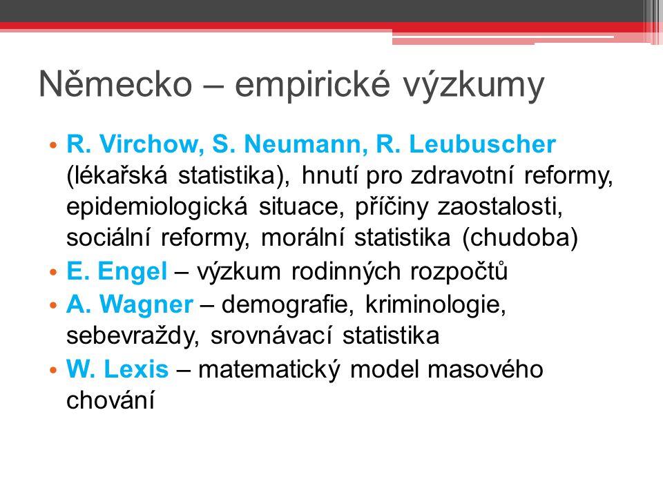 Německo – empirické výzkumy R. Virchow, S. Neumann, R. Leubuscher (lékařská statistika), hnutí pro zdravotní reformy, epidemiologická situace, příčiny