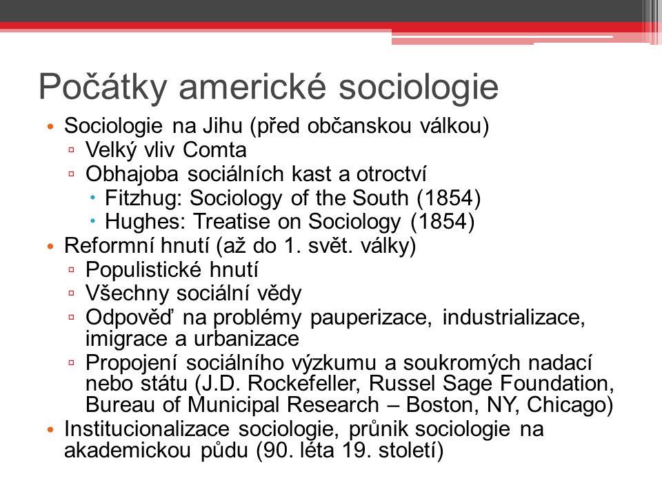 Počátky americké sociologie Sociologie na Jihu (před občanskou válkou) ▫ Velký vliv Comta ▫ Obhajoba sociálních kast a otroctví  Fitzhug: Sociology o