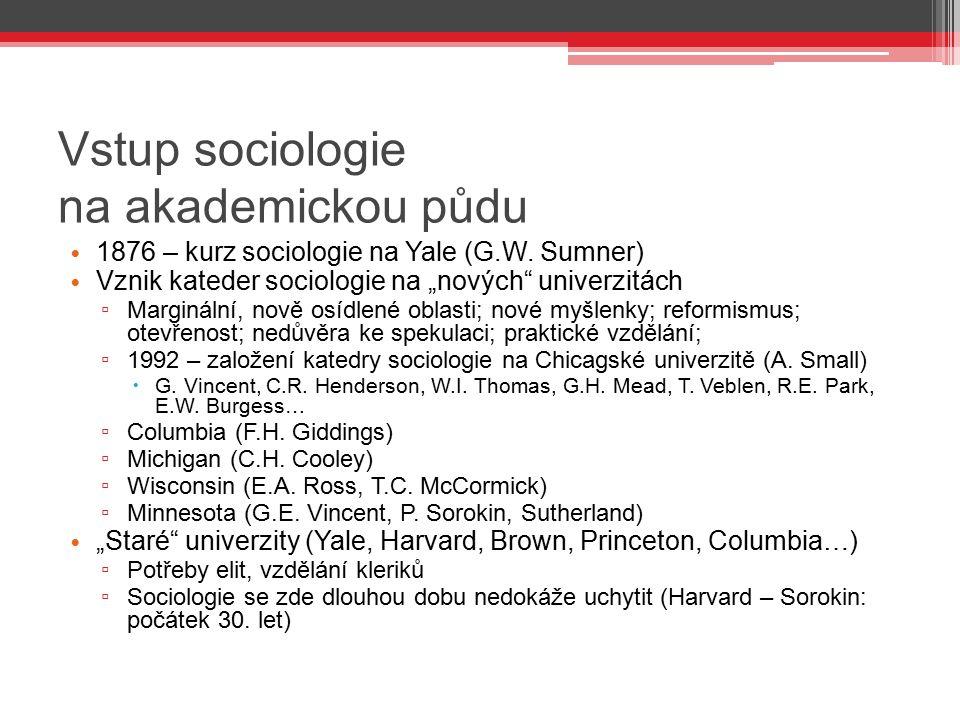 """Vstup sociologie na akademickou půdu 1876 – kurz sociologie na Yale (G.W. Sumner) Vznik kateder sociologie na """"nových"""" univerzitách ▫ Marginální, nově"""