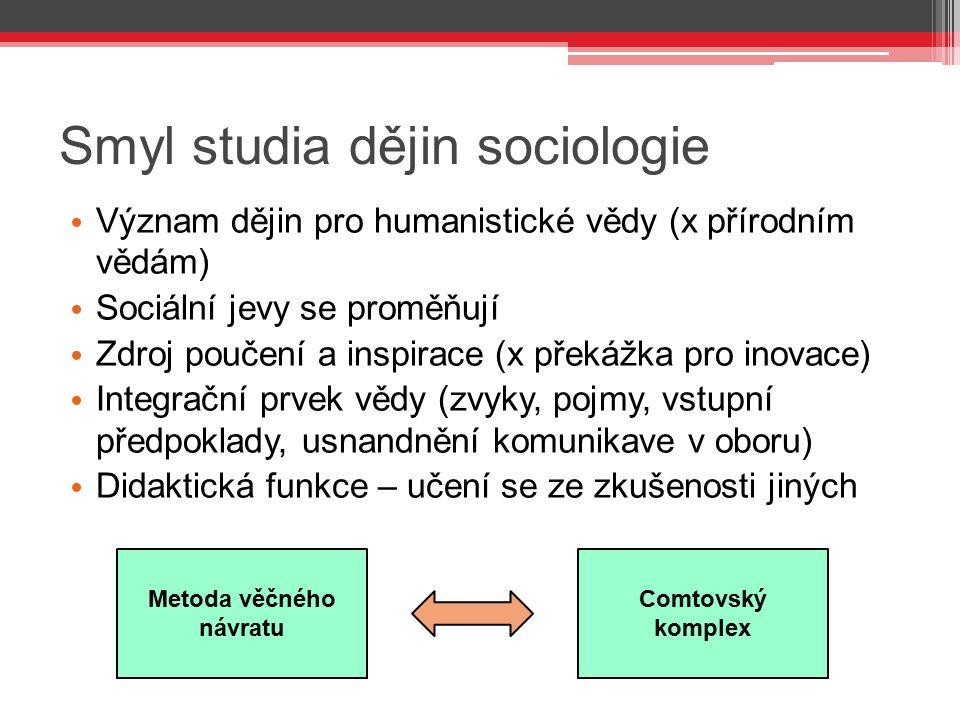 Smyl studia dějin sociologie Význam dějin pro humanistické vědy (x přírodním vědám) Sociální jevy se proměňují Zdroj poučení a inspirace (x překážka p