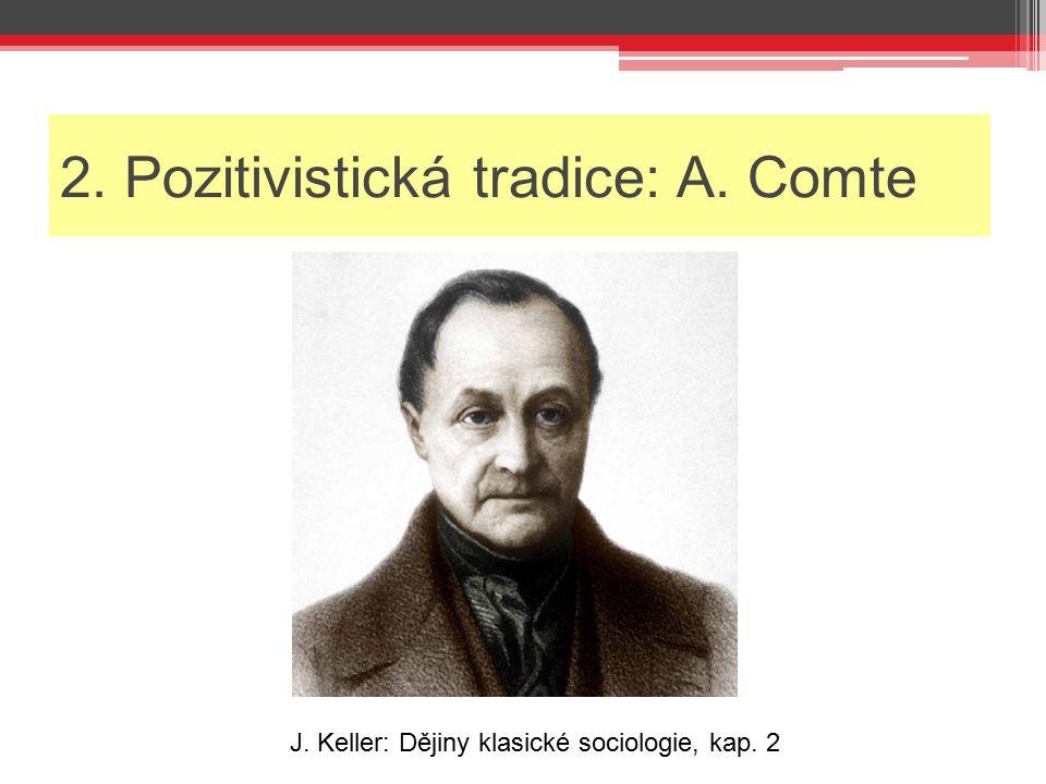 2. Pozitivistická tradice: A. Comte J. Keller: Dějiny klasické sociologie, kap. 2