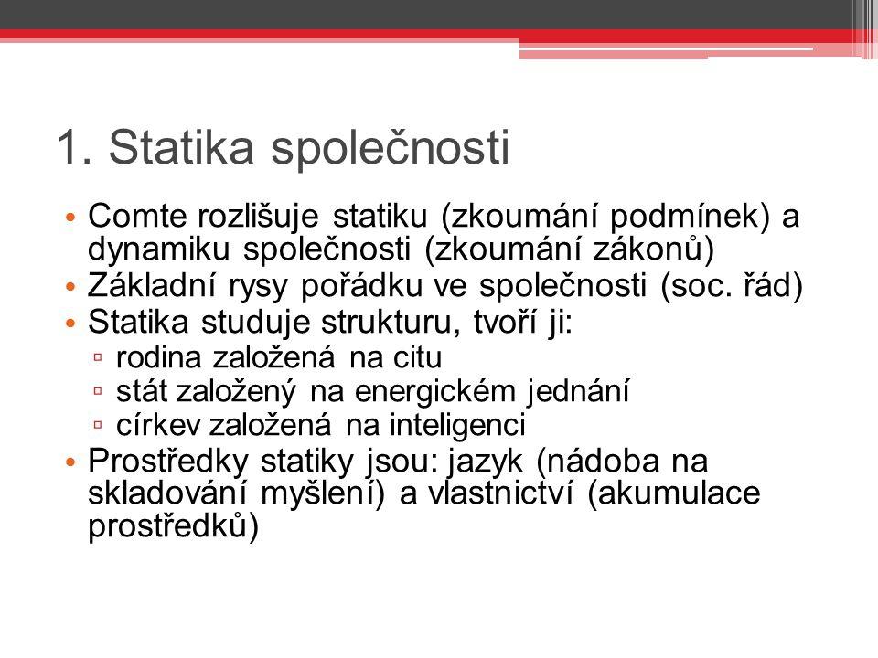 1. Statika společnosti Comte rozlišuje statiku (zkoumání podmínek) a dynamiku společnosti (zkoumání zákonů) Základní rysy pořádku ve společnosti (soc.
