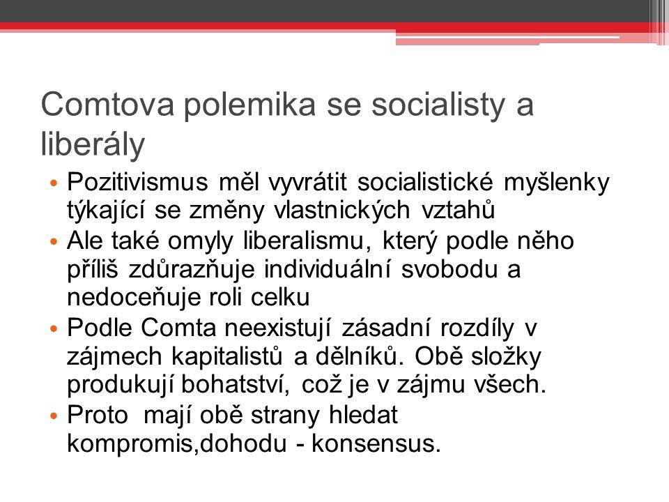 Comtova polemika se socialisty a liberály Pozitivismus měl vyvrátit socialistické myšlenky týkající se změny vlastnických vztahů Ale také omyly libera
