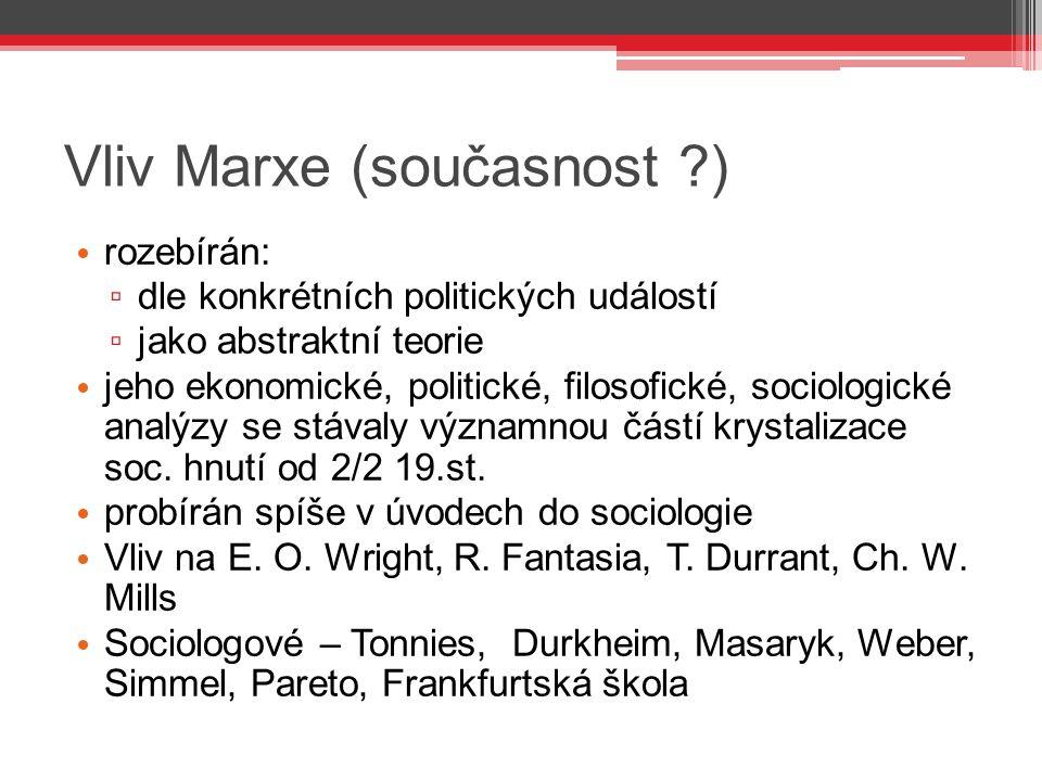 Vliv Marxe (současnost ?) rozebírán: ▫ dle konkrétních politických událostí ▫ jako abstraktní teorie jeho ekonomické, politické, filosofické, sociolog